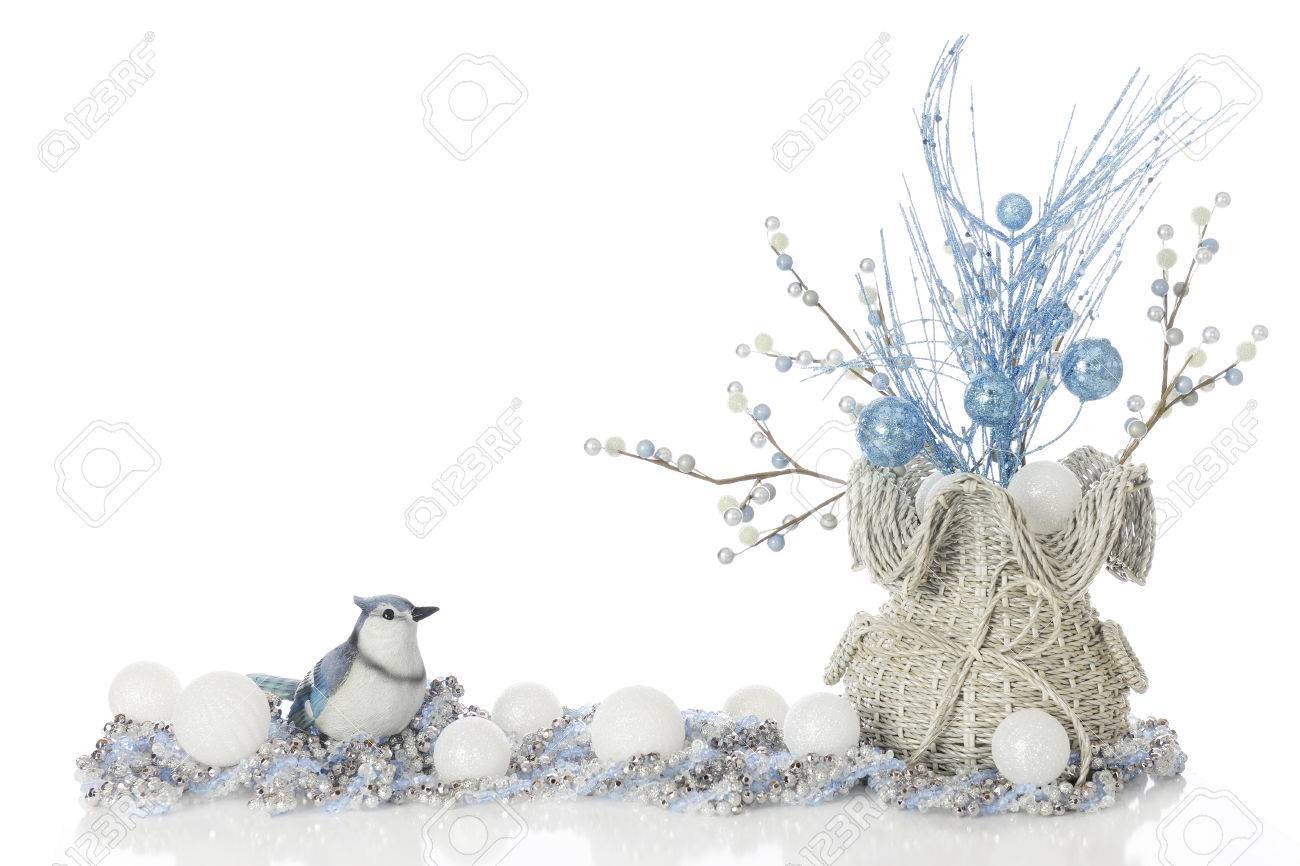 Looking for christmas ornaments - A Sparkly High Key Image Of A Blue Jay Looking At A Basket Full Of