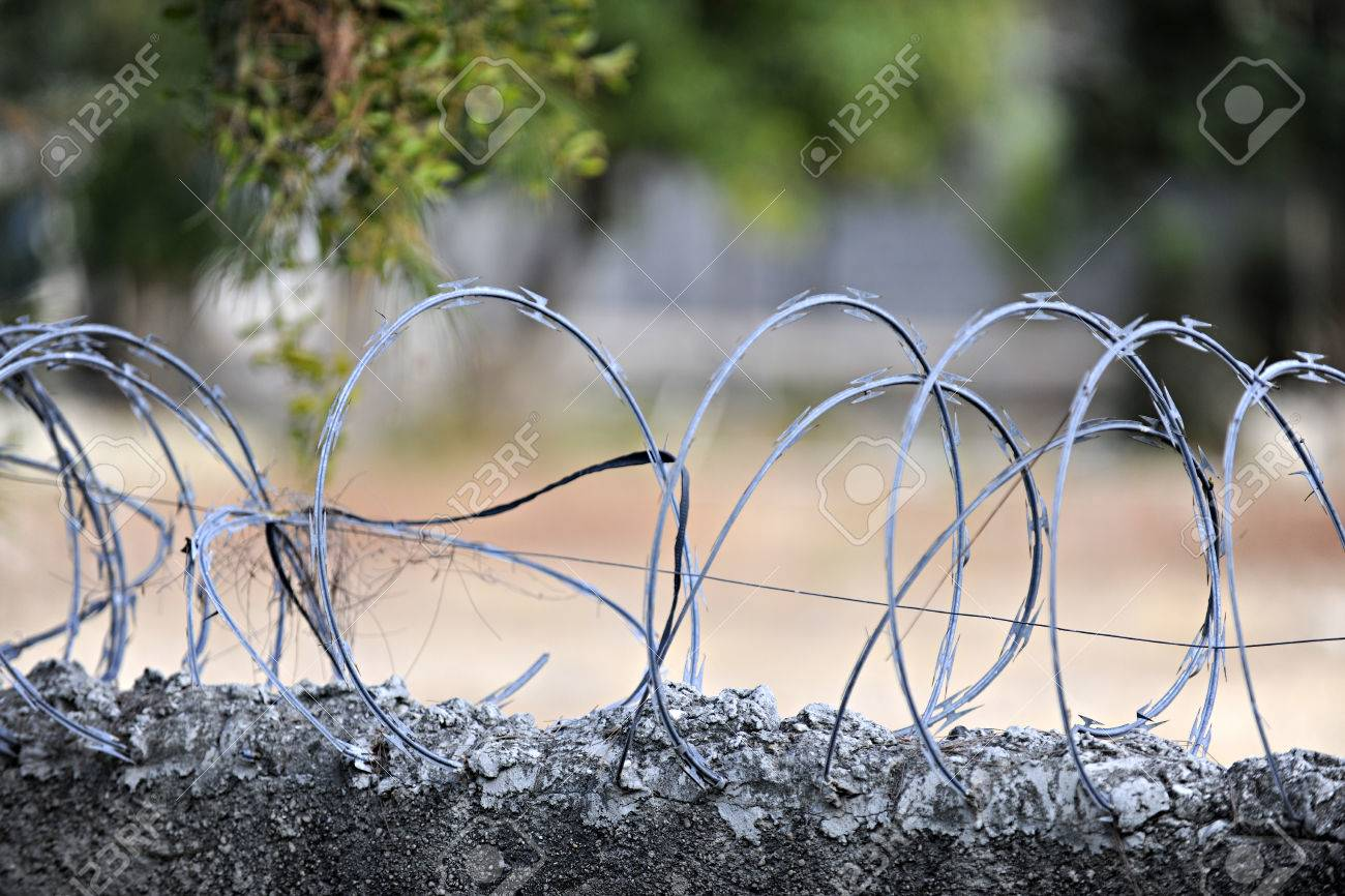 Closeup Image Of Loops Of Razor Wire Embedded In The Top Of A ...