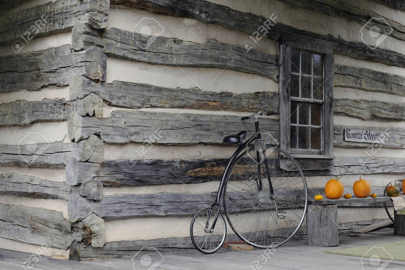 Simple Exterior Of An Old Time General Store A Bicycle Leans