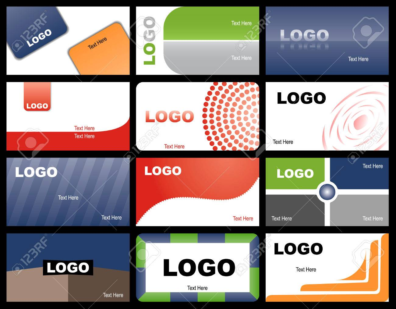 A set of twelve designs of business cards Stock Vector - 6532686