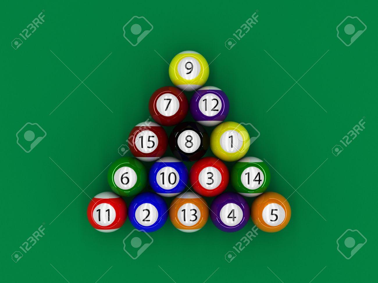 A Render Of A Billiard Pool Triangle Balls Stock Photo   6869916