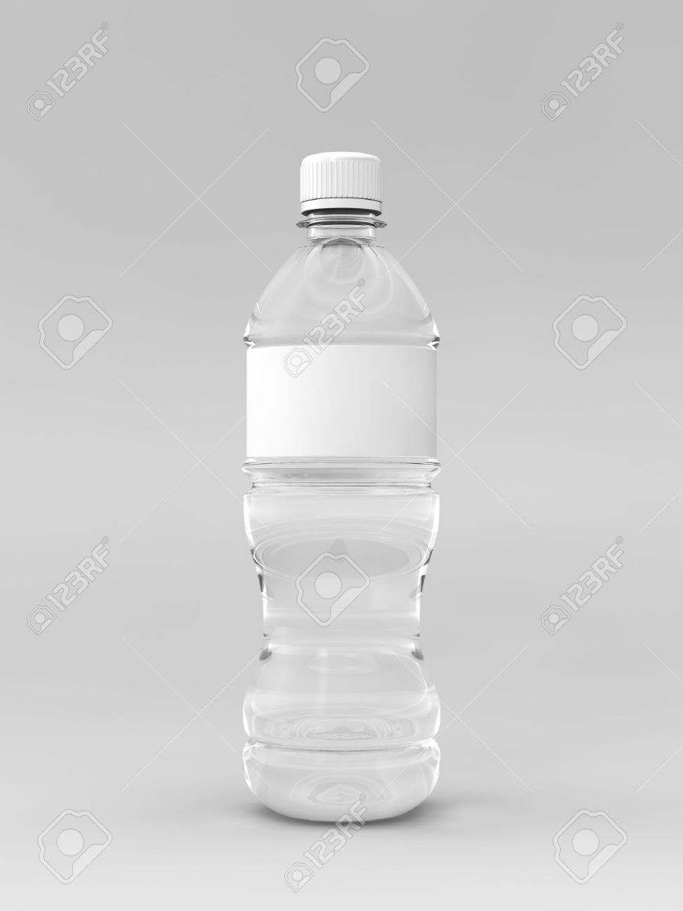A Render Of A Labeled Water Bottle Over A Whit Background Stock ...