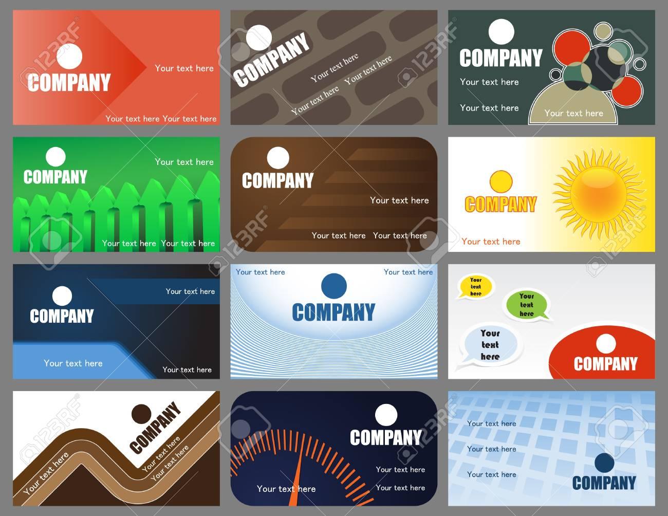 A set of twelve vector business cards designs Stock Vector - 9255251
