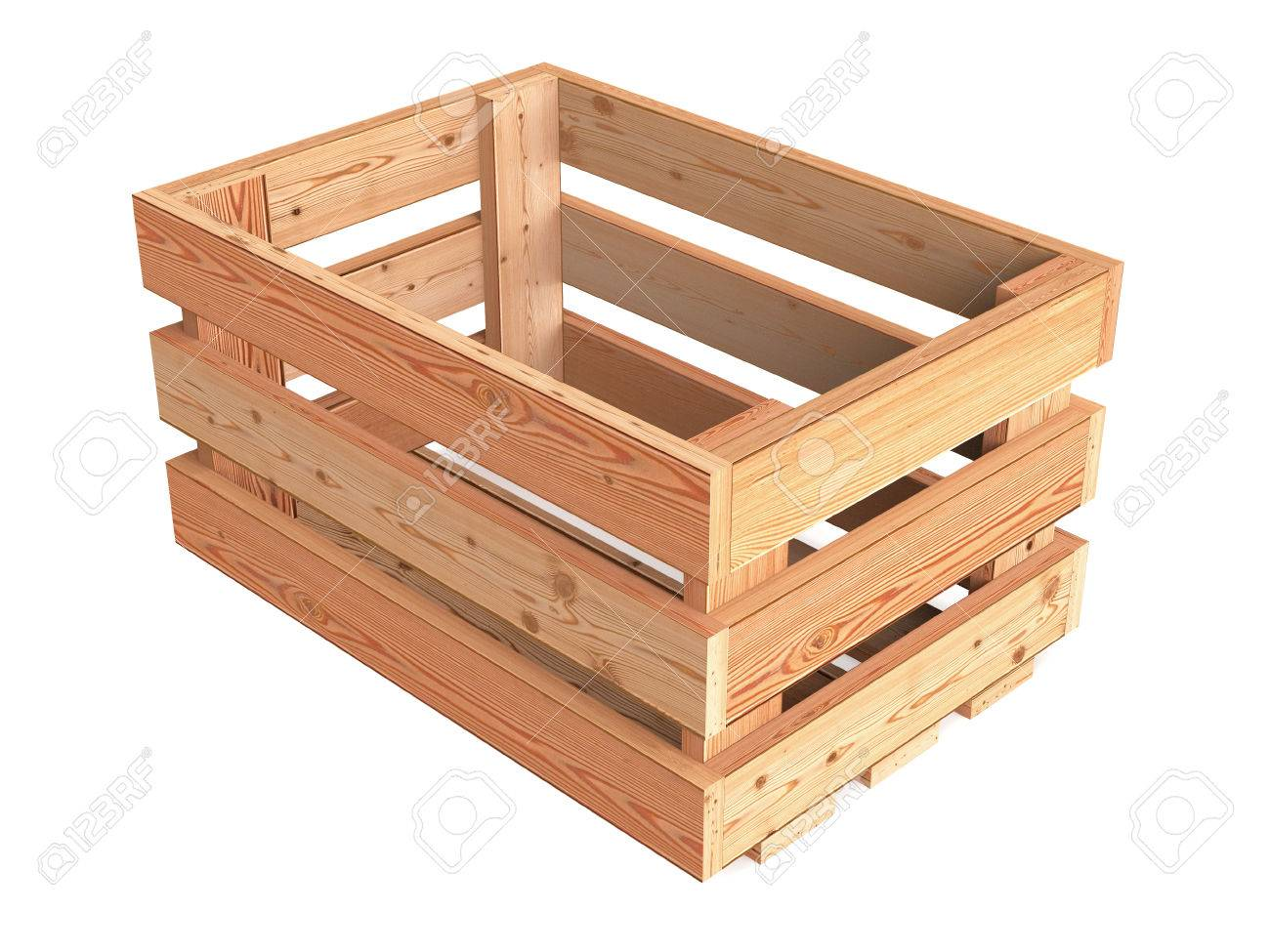An Isolated Empty Wooden Fruit Crate Stock Photo