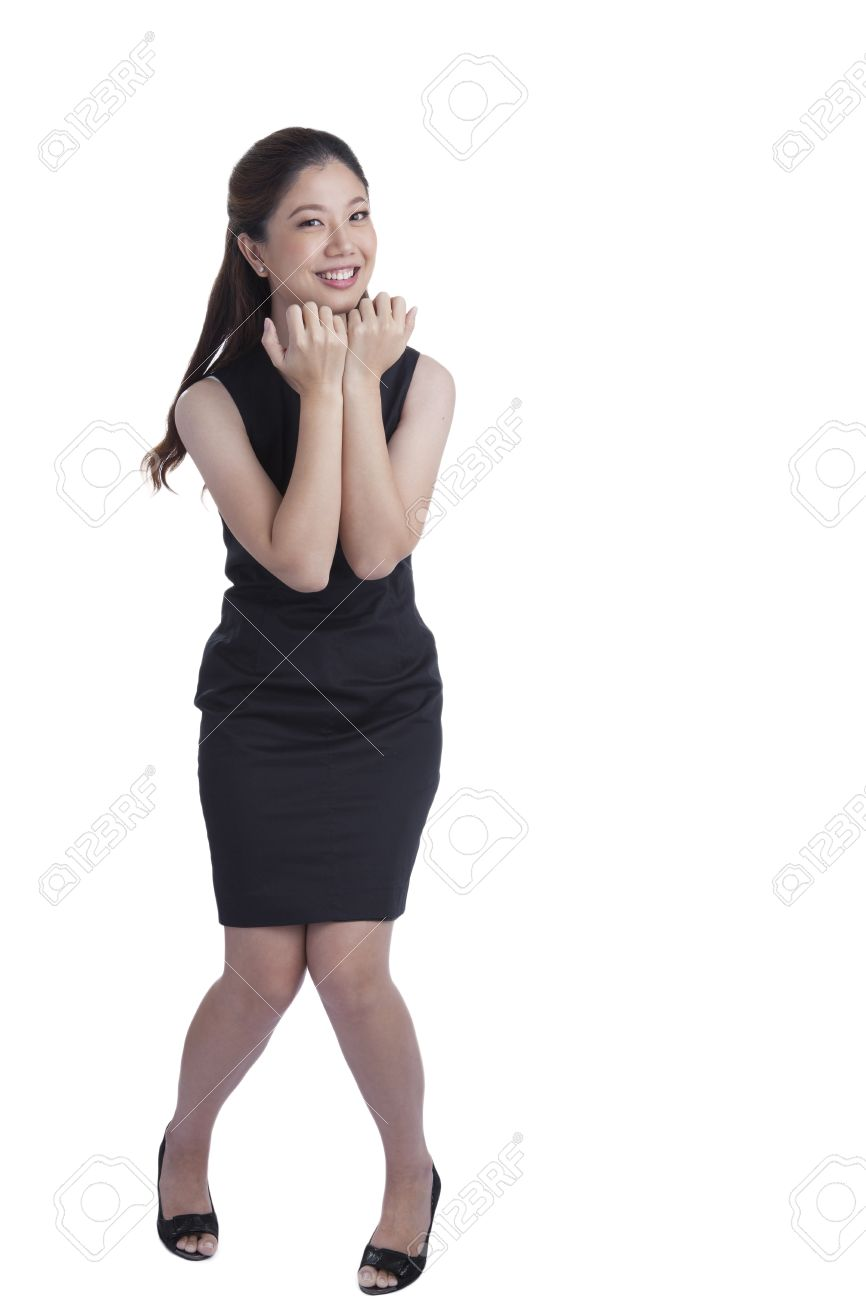 Nervous Scared Xwoman Biting Her Nails. Funny Asian Businesswoman ...