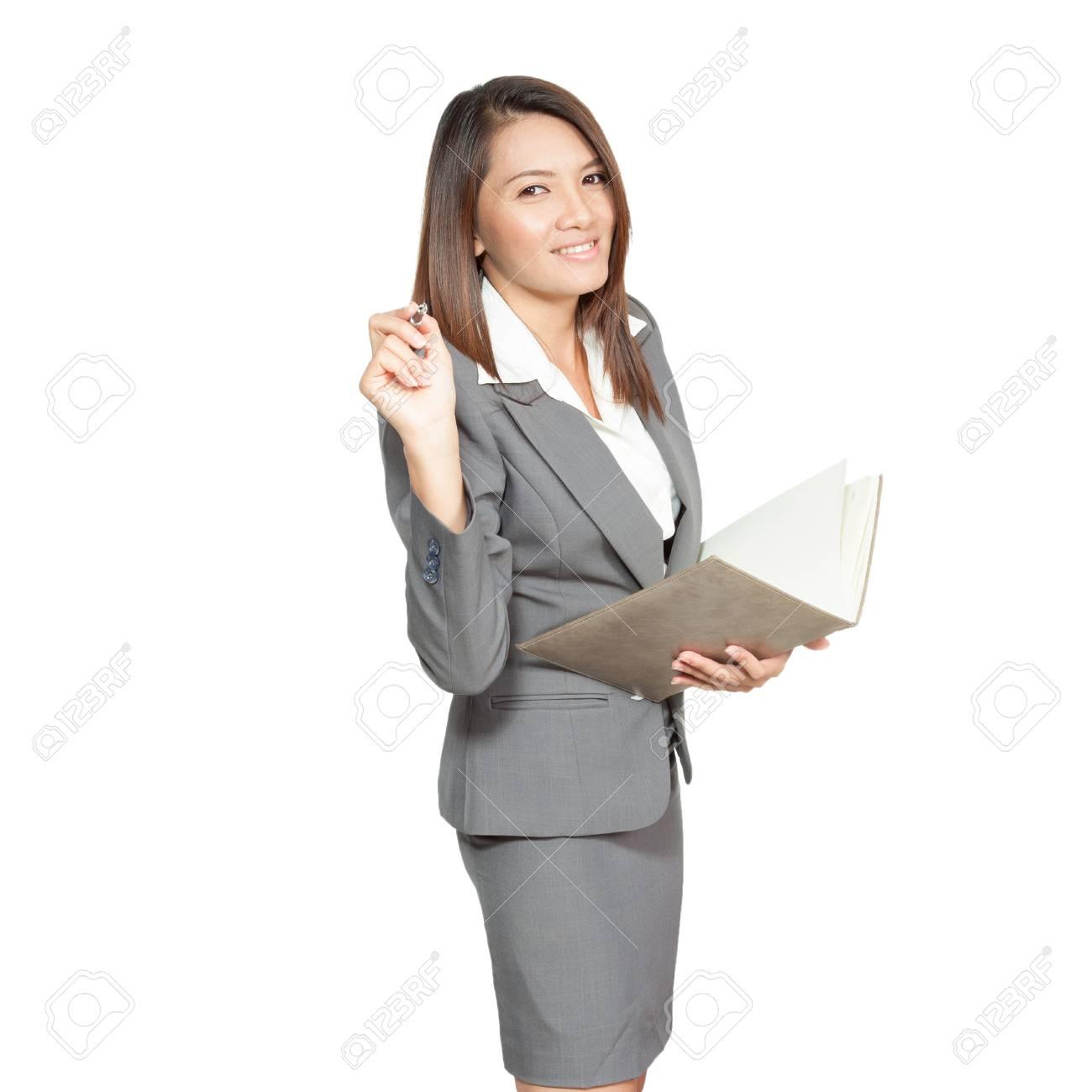 Sourire Heureux Joyeuse Jolie Jeune Femme D Affaires Ecrit Ou Un Dessin Sur L Ecran Avec Un Marqueur Noir Isole Sur Fond Blanc