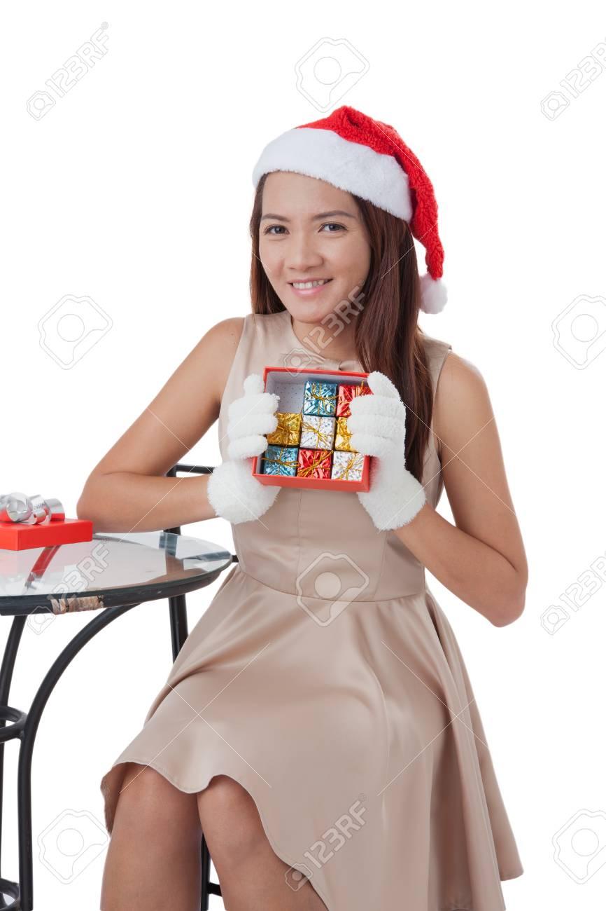 Weihnachts-Geschenk-Frau Isoliert. Glücklich Aufgeregt Santa Frau ...