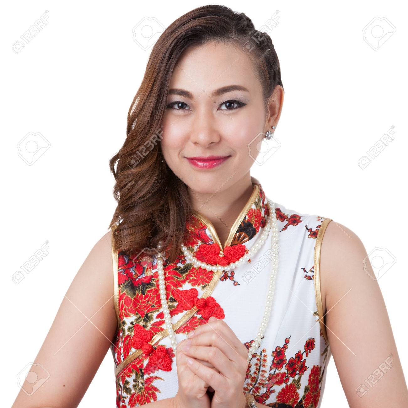 Orientalisches Mädchen, Das Ihnen Ein Glückliches Chinesisches ...