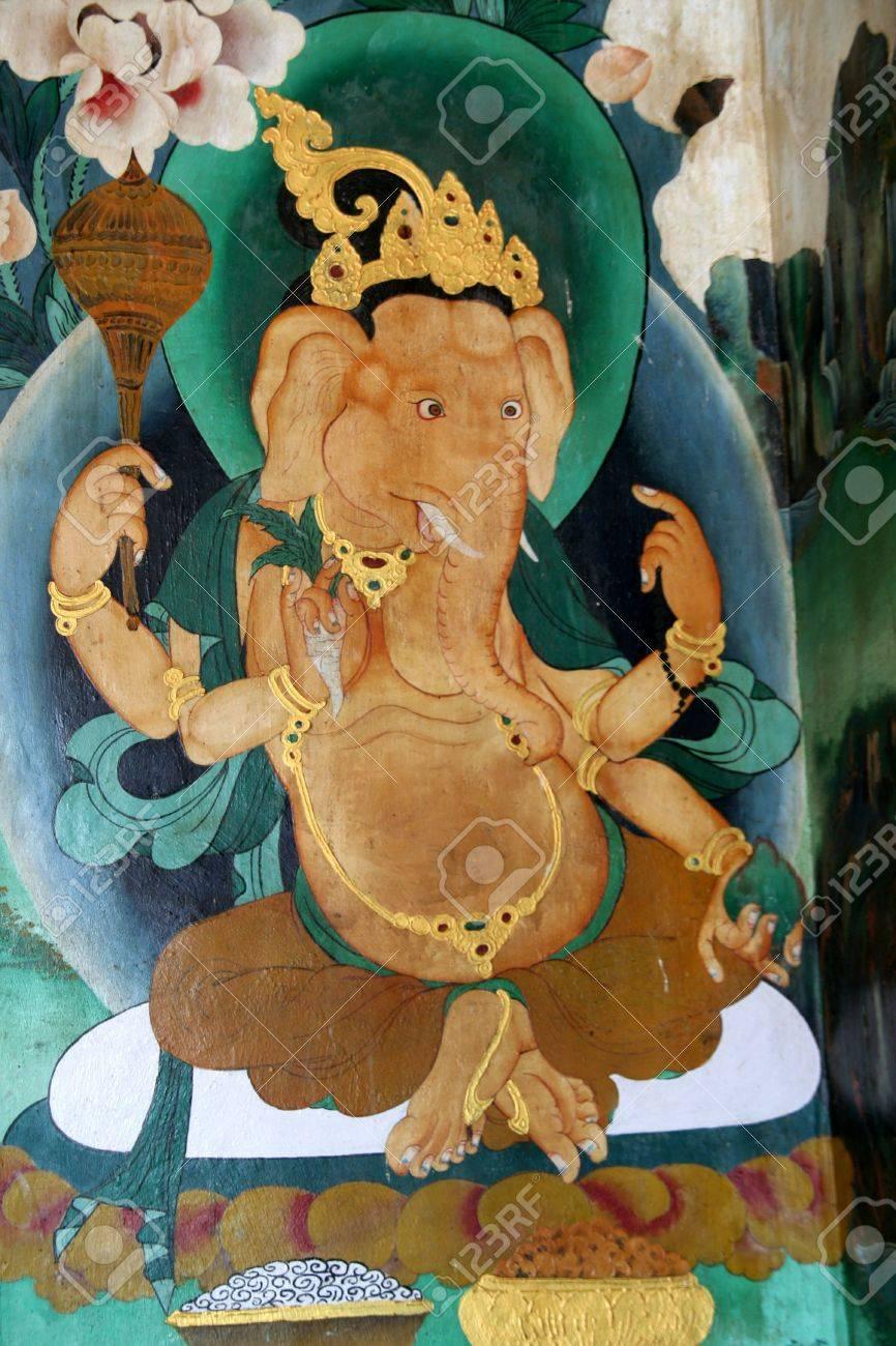 Wall painting of Ganesha in Rumtek Monastery, Gangtok, Sikkim, India, Asia - 5050910