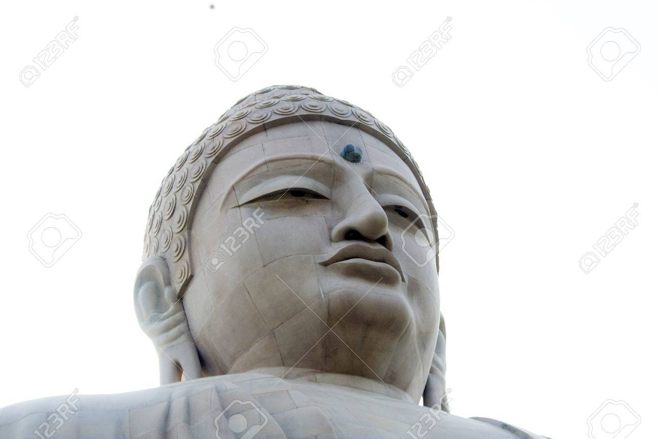 Face of giant statue of sitting Buddha at Bodhgaya, Bihar, India, Asia Stock Photo - 11077139