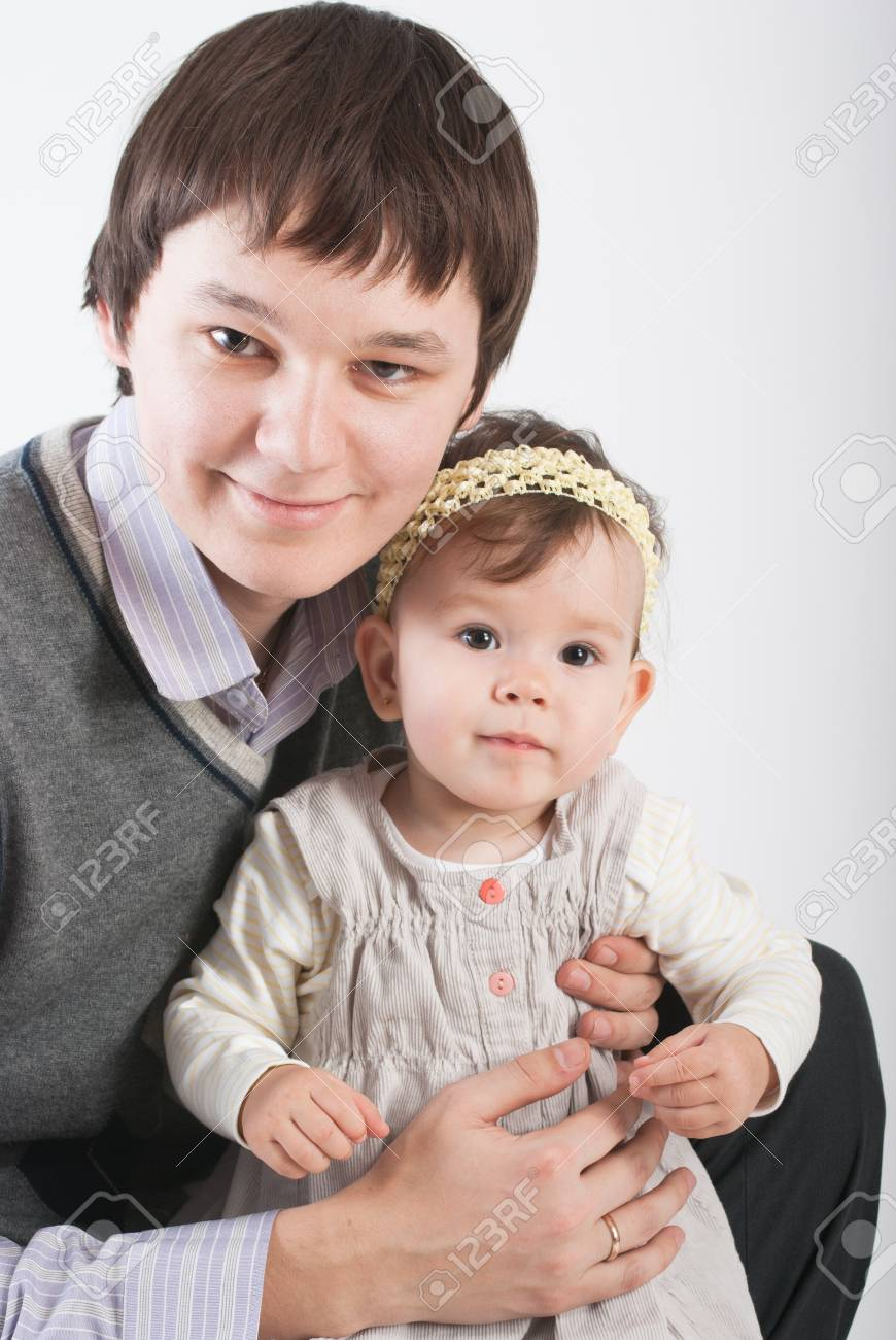 Portrait beautiful and happy fathers with a daughter Stock Photo - 8606450
