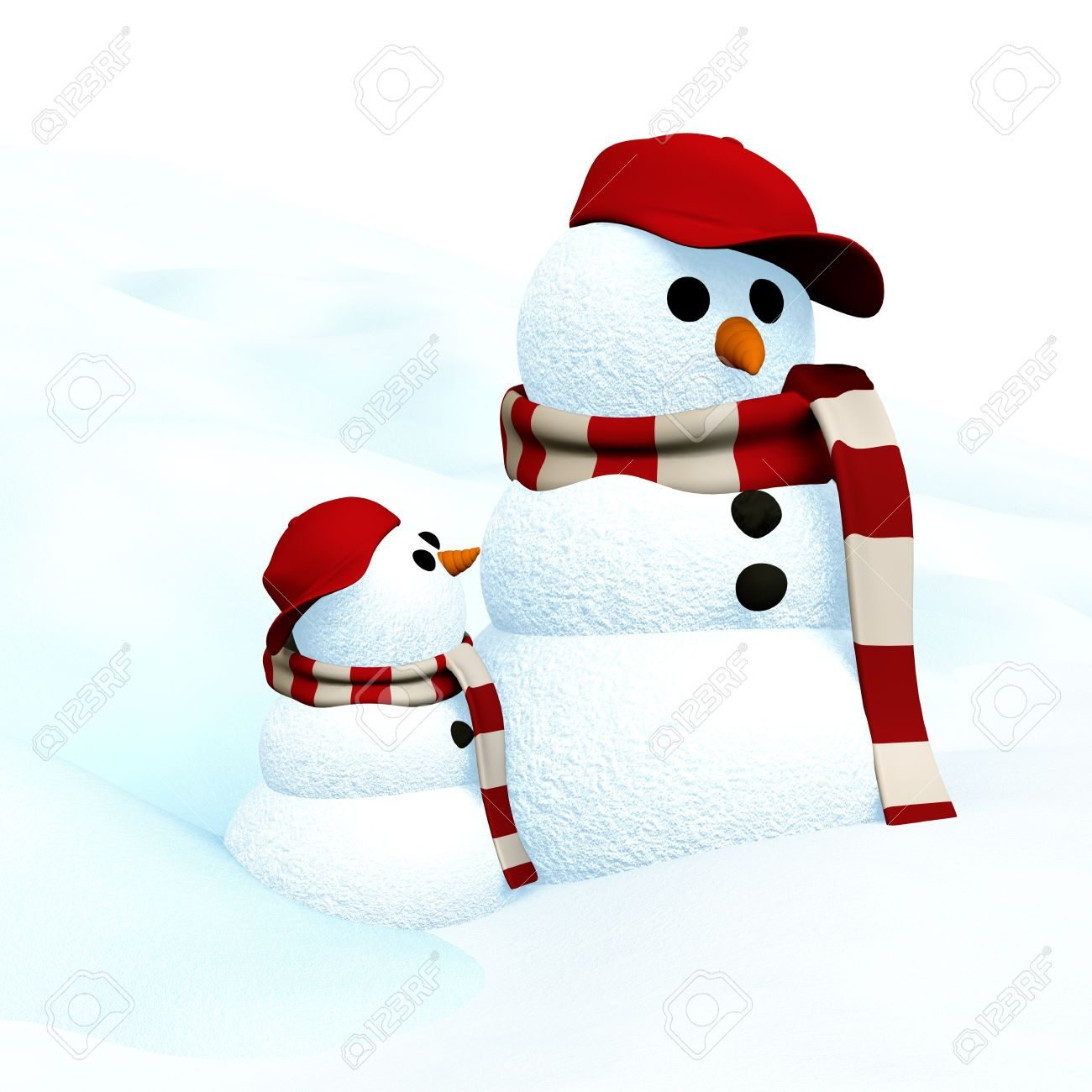 3D Illustration, little snowman is looking up to big snowman Stock Illustration - 11448859