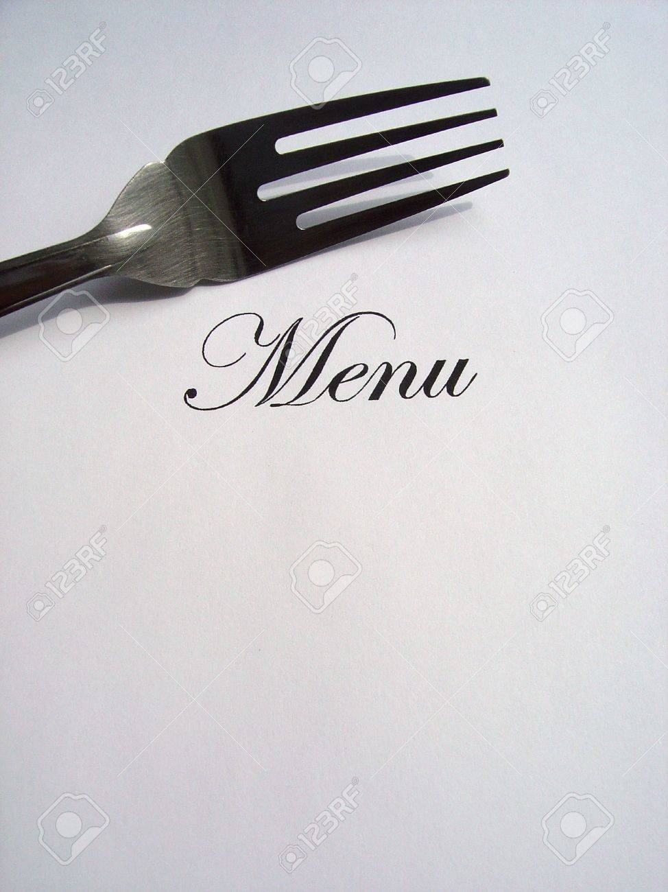 Close up view of the word Menu written and a fork all on a white background with free space to write what you want Stock Photo - 5185012