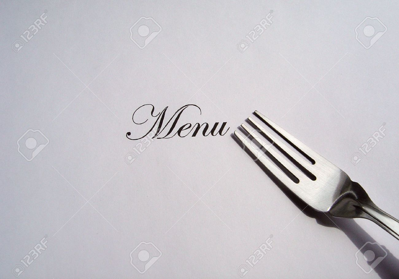 Close Up View Of The Word Menu Written And A Fork All On A White ...