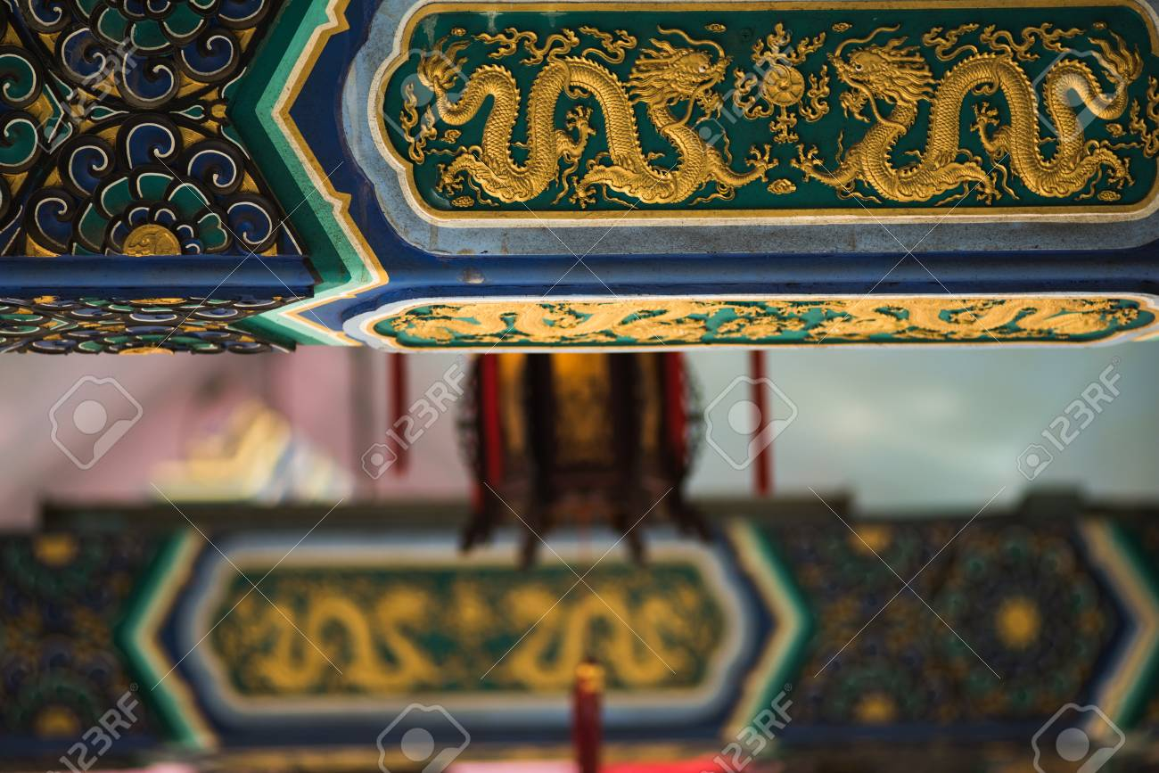 Ancient Temple architecture: Colorful eaves - 87503398