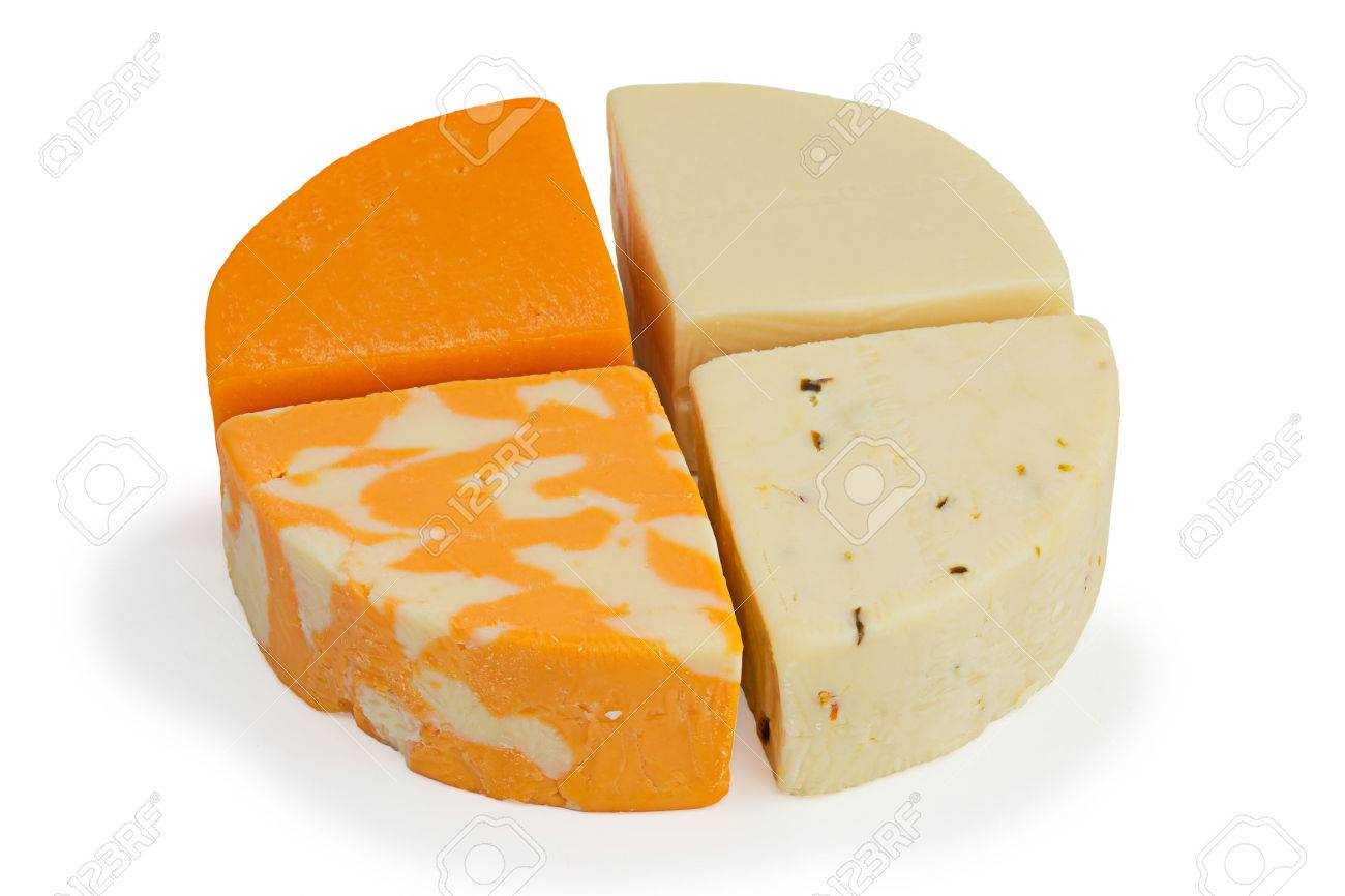 Four pieces of cheese: mild cheddar, gauda, farmers marble and
