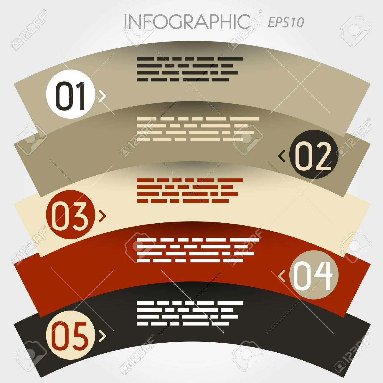 arc infographic five options in zig zag rings. infographic concept. Stock Vector - 20135840