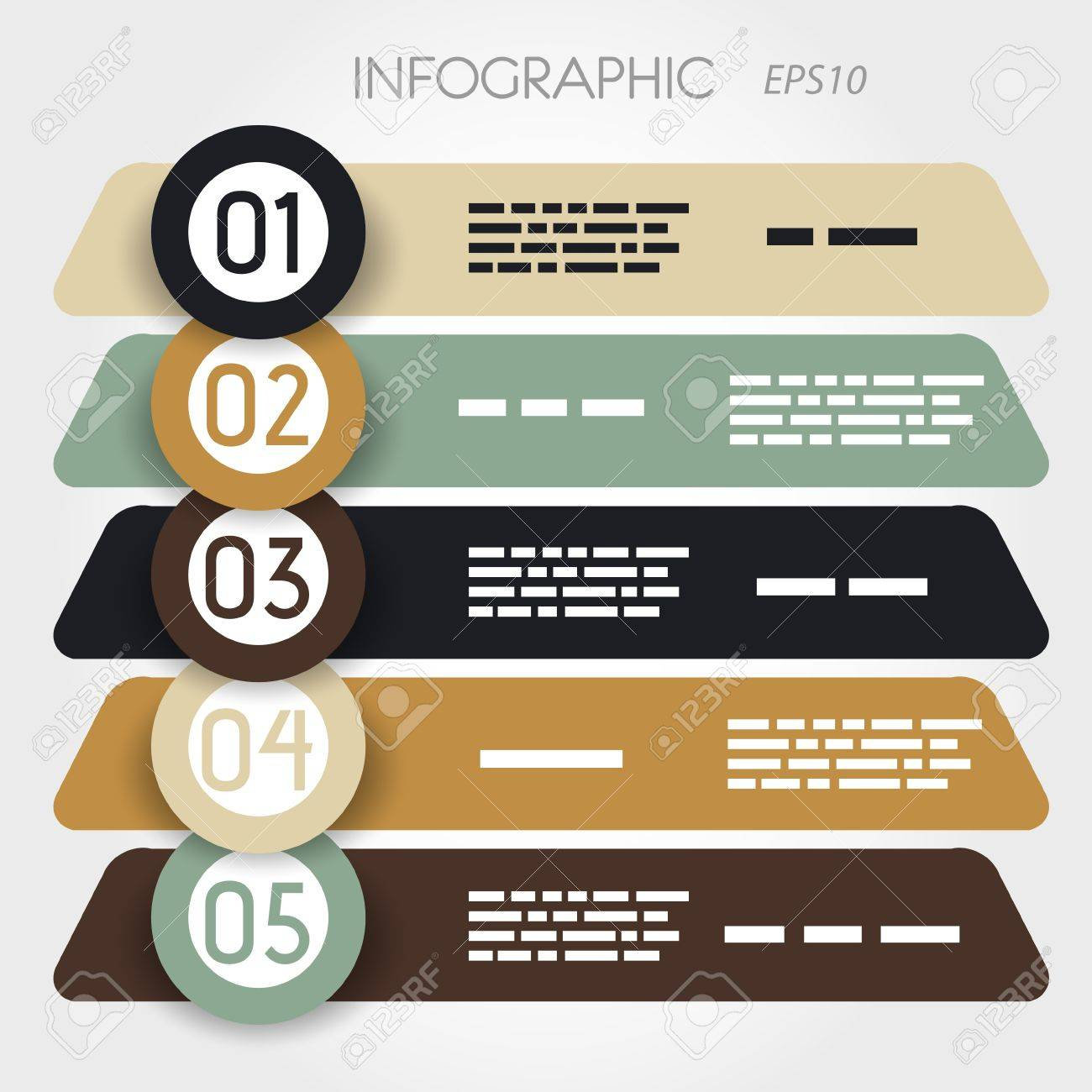 rouned oblique infographic five options in big rings. infographic concept. Stock Vector - 20135854