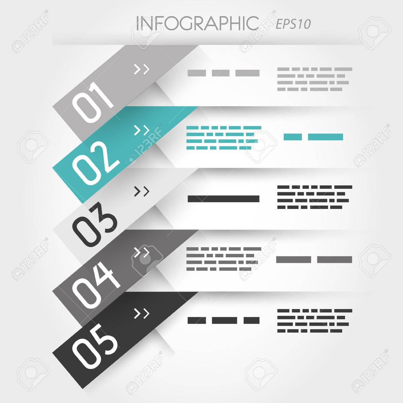 grey and turquoise five oblique sticker options. infographic concept. Stock Vector - 22289451