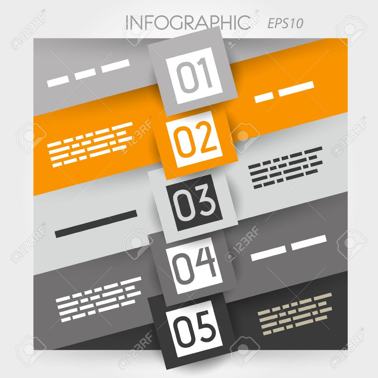 orange oblique line infographic five options with squares in middle  infographic concept Stock Vector - 22290554
