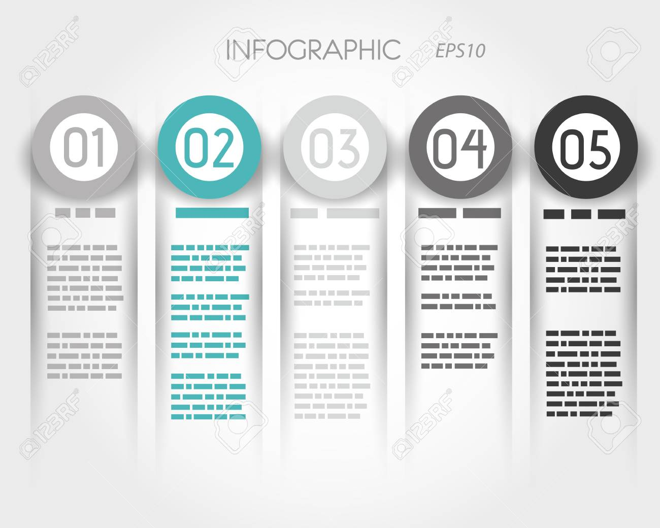 turquoise infographic columns with five options. infographic concept. - 22299204