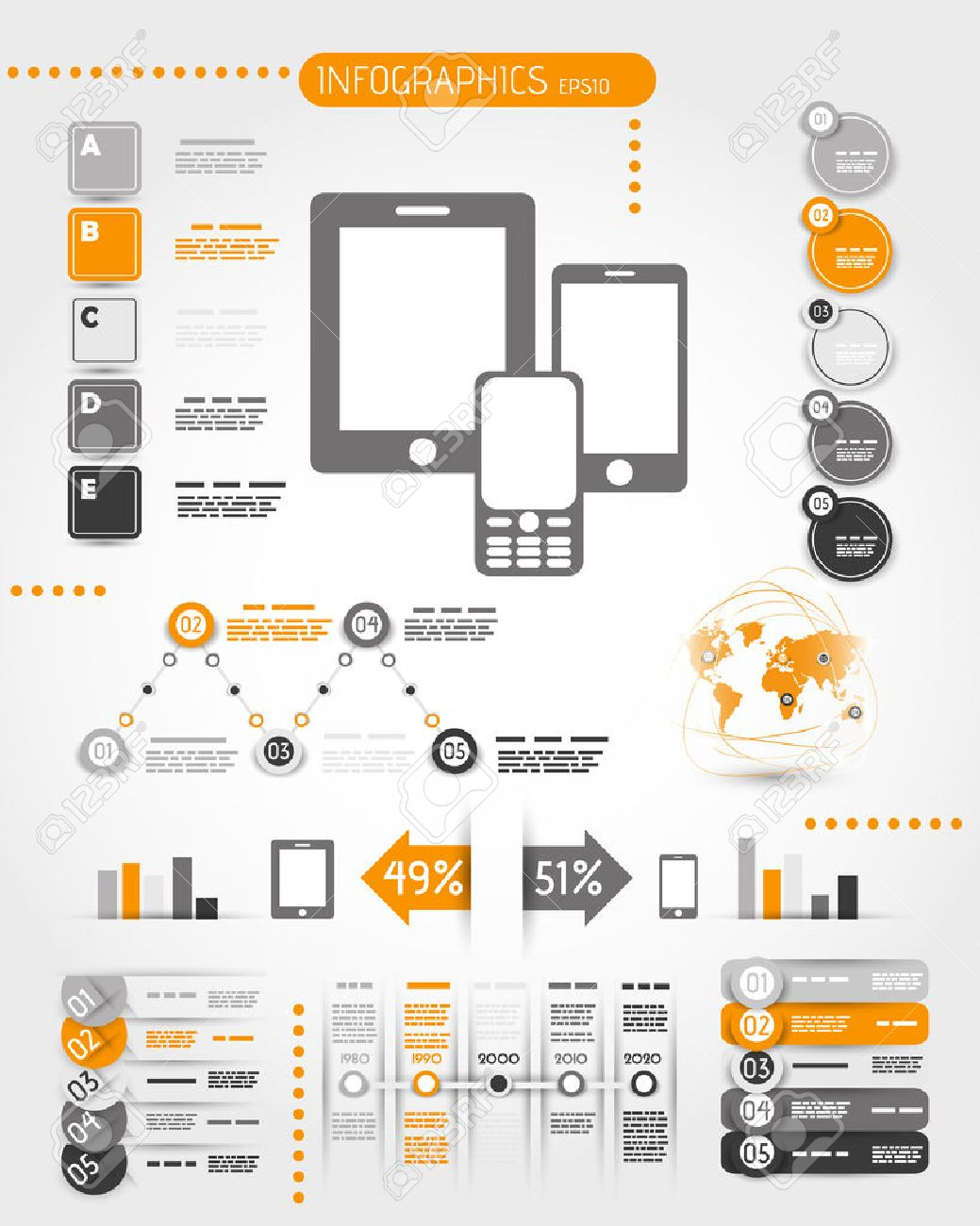 orange mobile phone world infographics. infographic concept. Stock Vector - 22395833