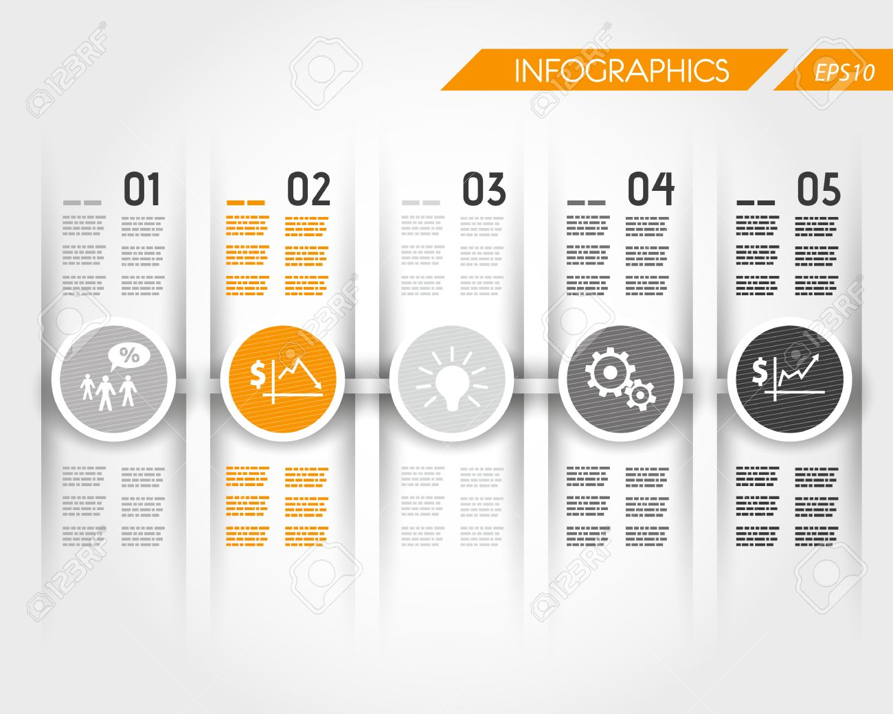 orange timeline with business ring icons. infographic concept. Stock Vector - 22395864
