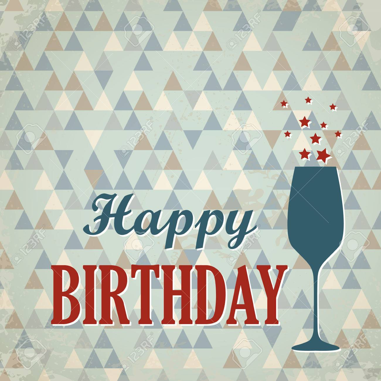 Red And Blue Retro Triangular Happy Birthday Card With Wine Glass Concept Stock
