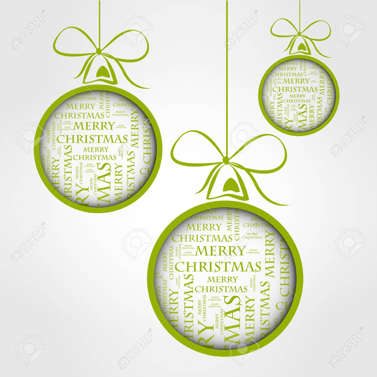 Green Merry Christmas Text Balls Royalty Free Cliparts, Vectors, And ...