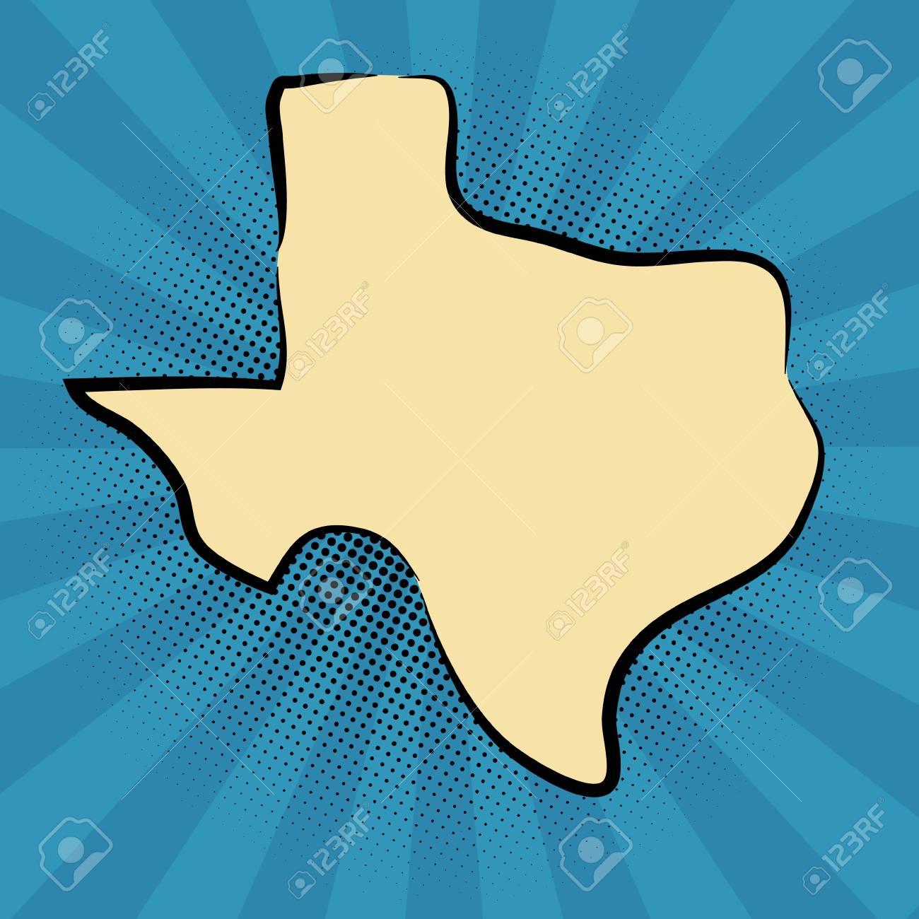 retro map of Texas  stylized map  drawn Texas  pop art concept