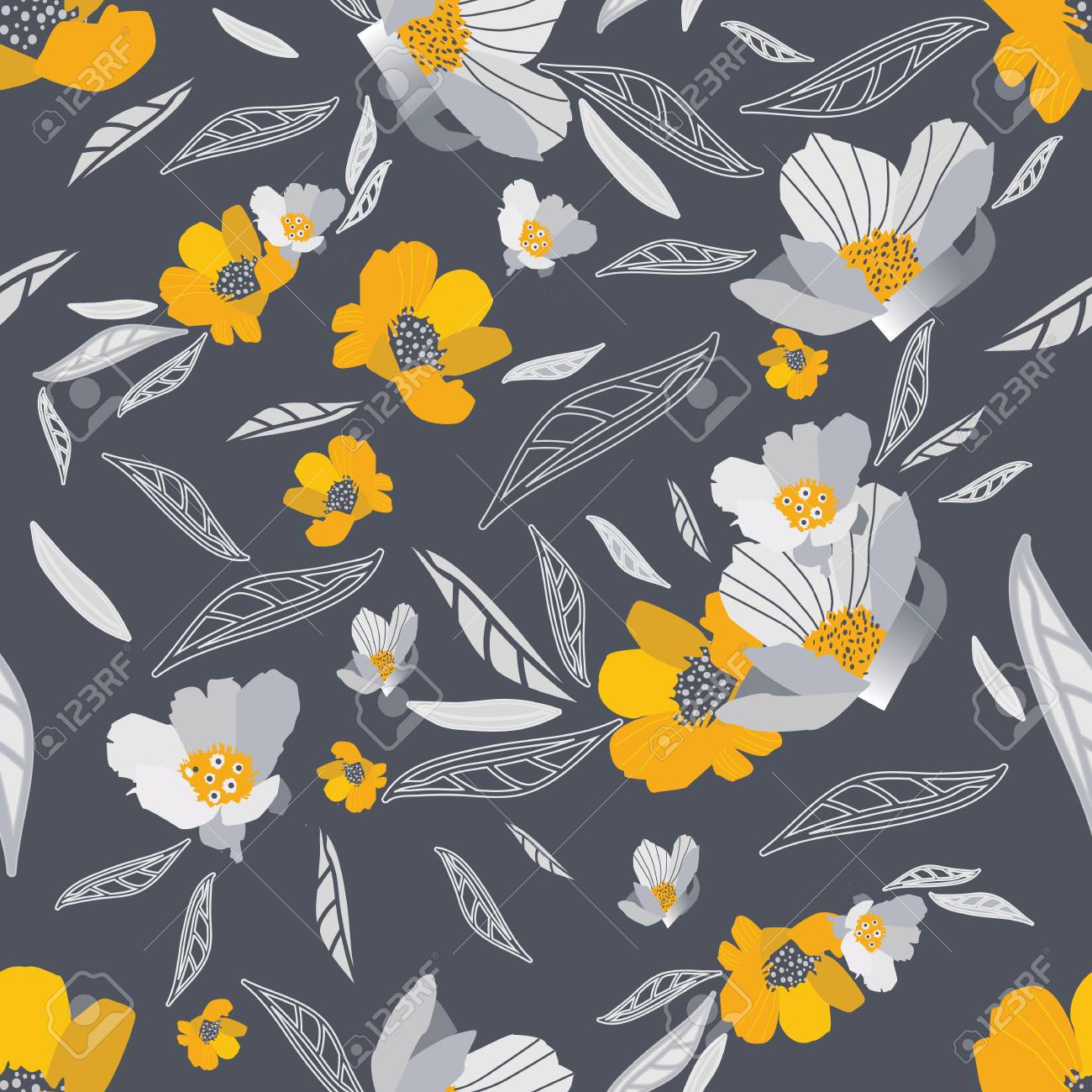 Gold And Grey Flowers Seamless Pattern Modern Design Great For