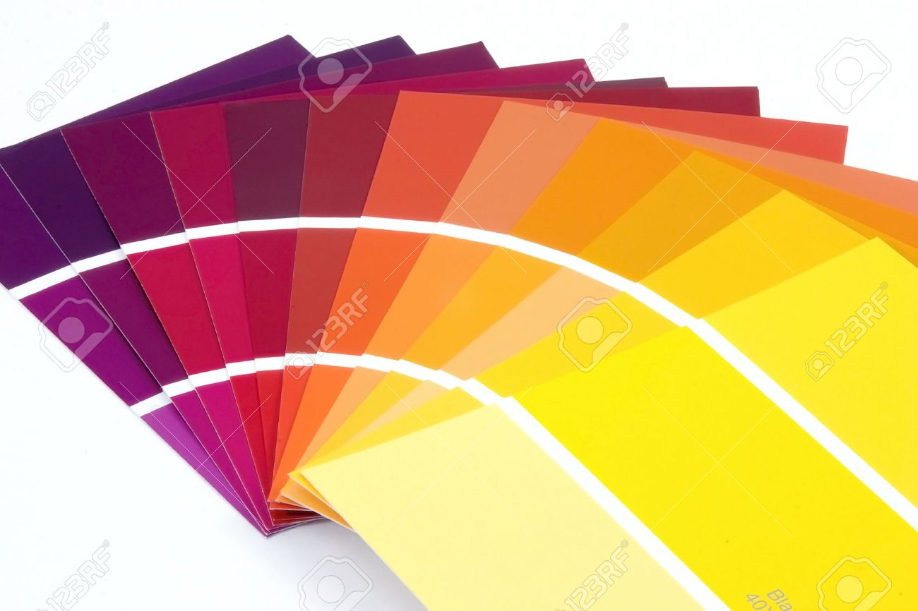 purple to yellow paint samples stock photo, picture and royalty
