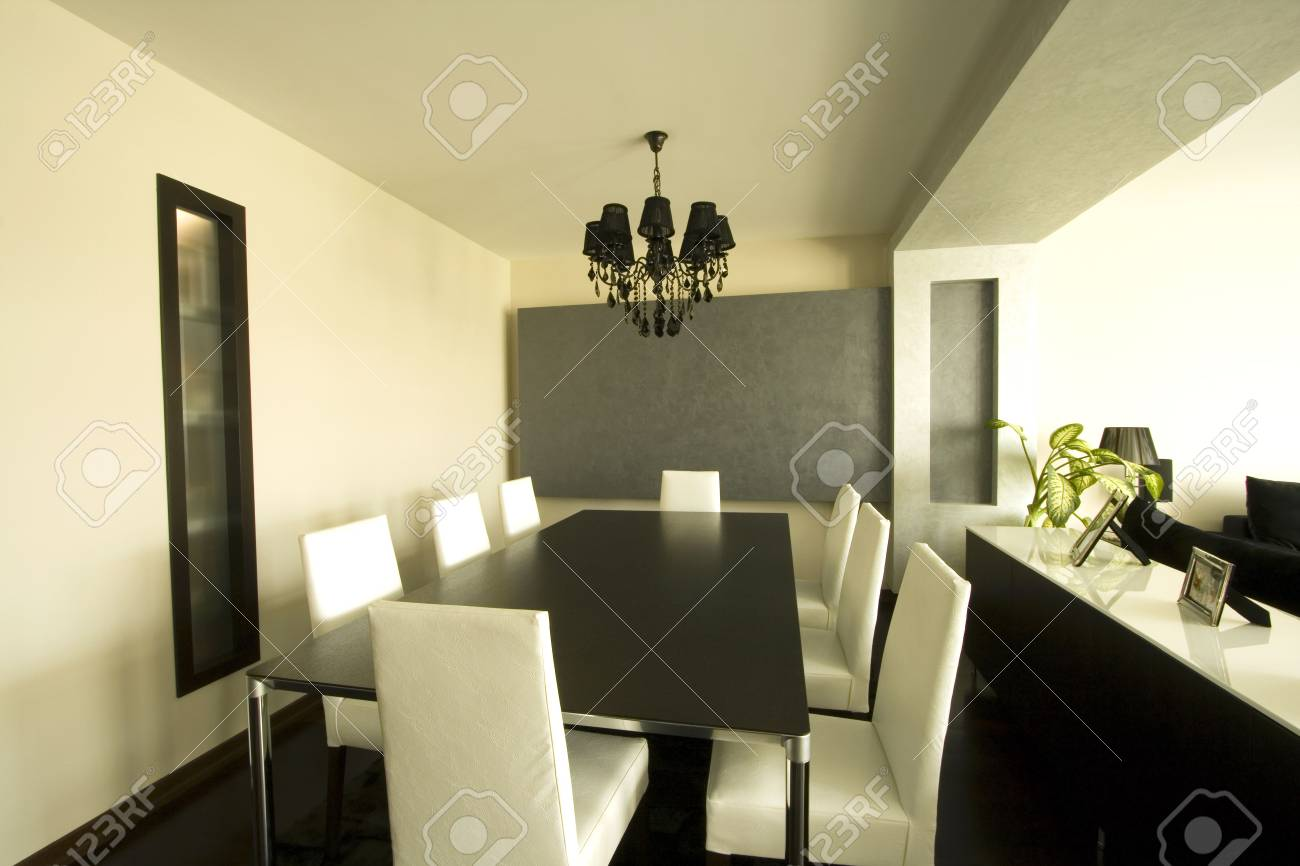 Trendy Modern Dining Room and Dinner Table Stock Photo - 2042706