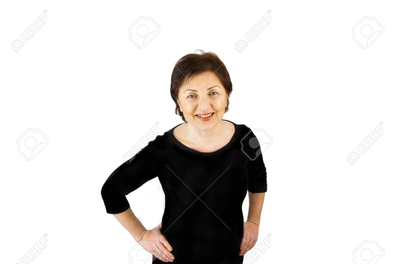Isolated Woman Looking At the Camera - Top View Stock Photo - 2713928