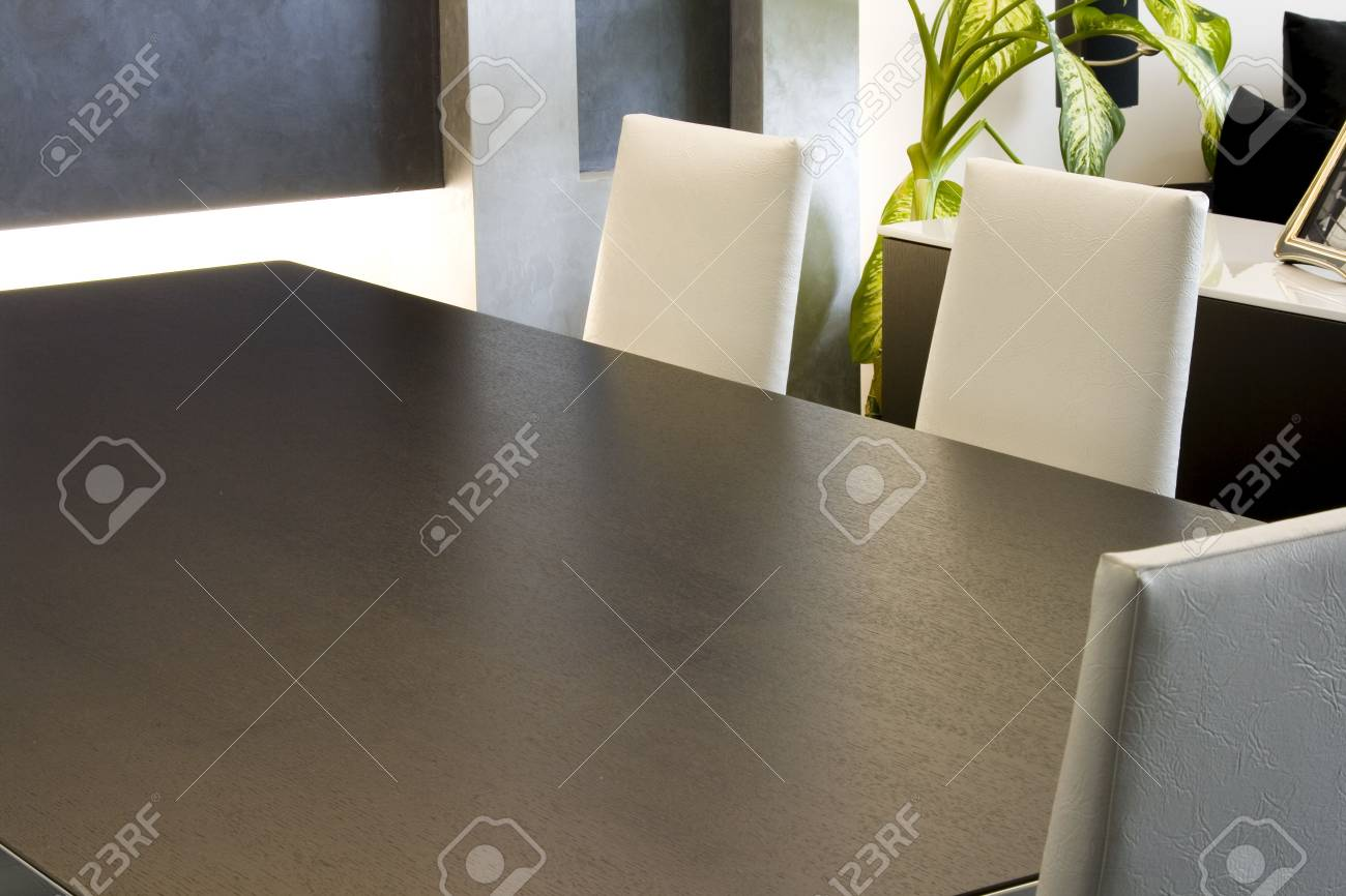 Close up on a Trendy Modern Dining Room and Dinner Table Stock Photo - 2866417