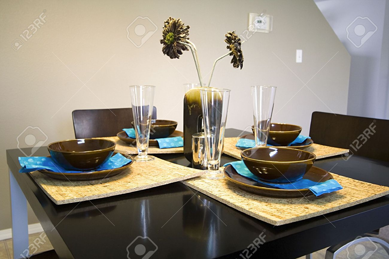 Delightful Kitchen Table Setting Ideas Part - 6: Closeup On A Setup Dinner Table In A Kitchen Stock Photo - 3604286