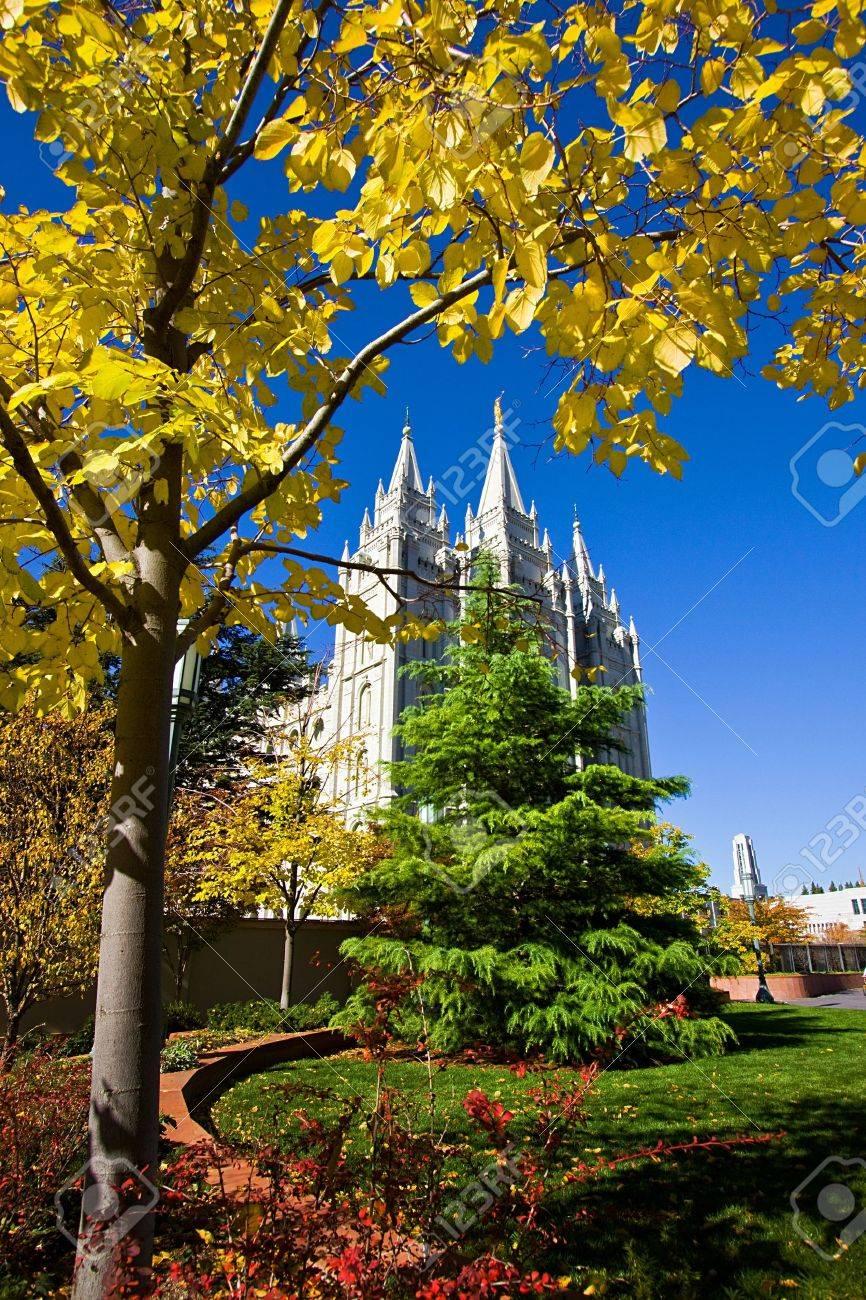 Mormon Temple Squae in Fall - Salt Lake City, Utah Stock Photo - 4070850
