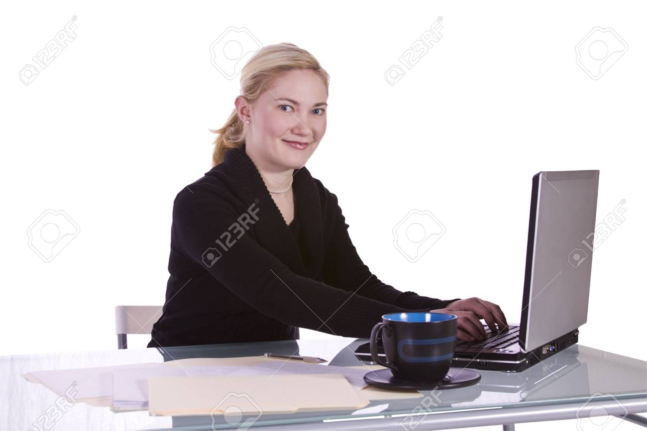 Isolated Businesswoman At Her Desk Working - White Background Stock Photo - 6627365