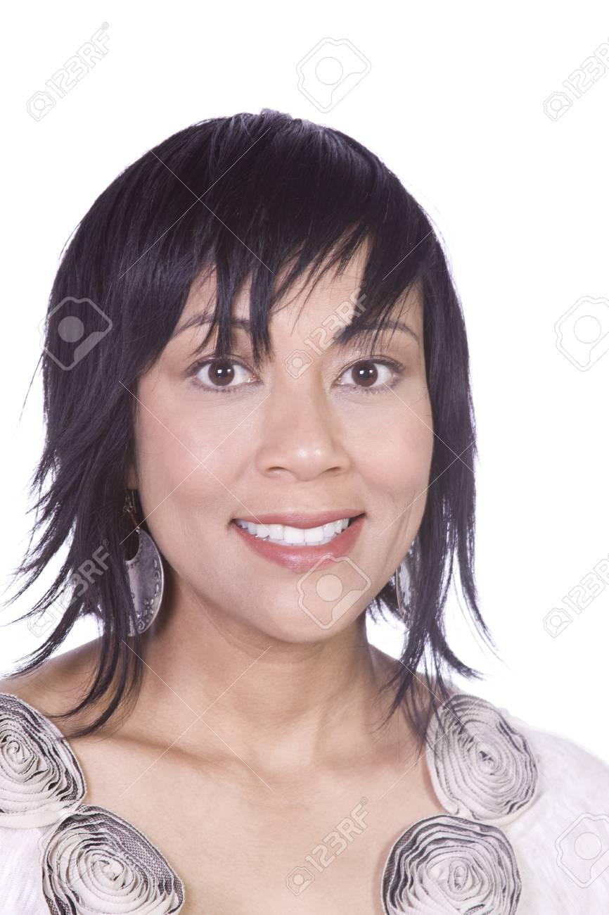 Close up of a Beautiful Asian Hispanic Girl - Isolated Shot Stock Photo - 7756627