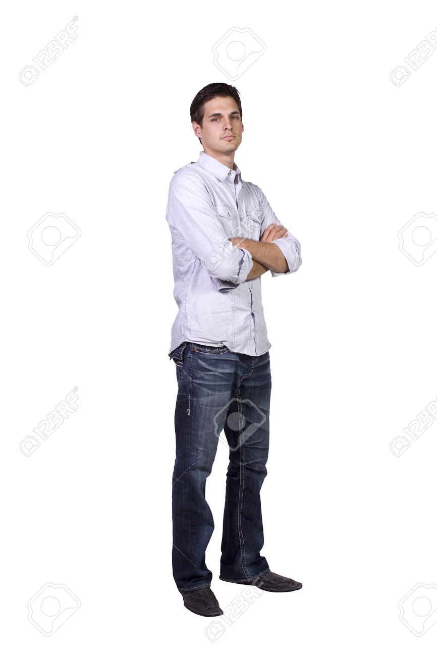 Casual Man with his Arms Crossed Posing - Isolated Background - 8074578