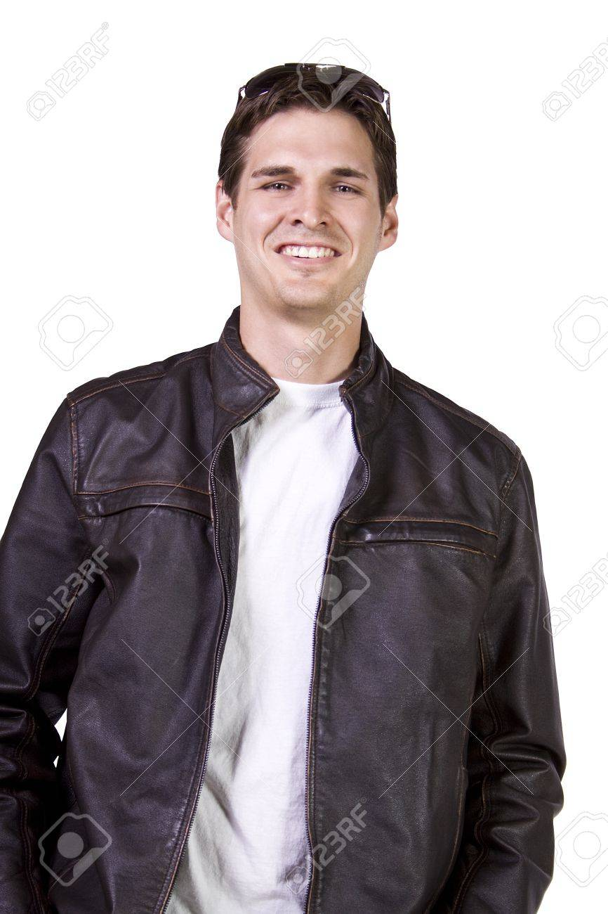 Isolated Sexy Male model with jacket and sunglasses Stock Photo - 8588620