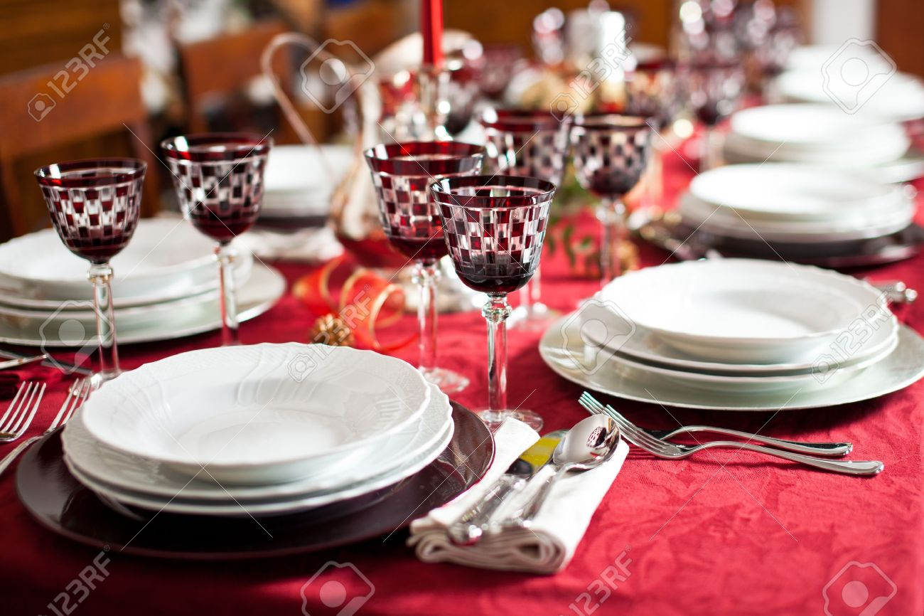 Banquet With Red Table Setting. Red Tablecloth, White Dishes ...