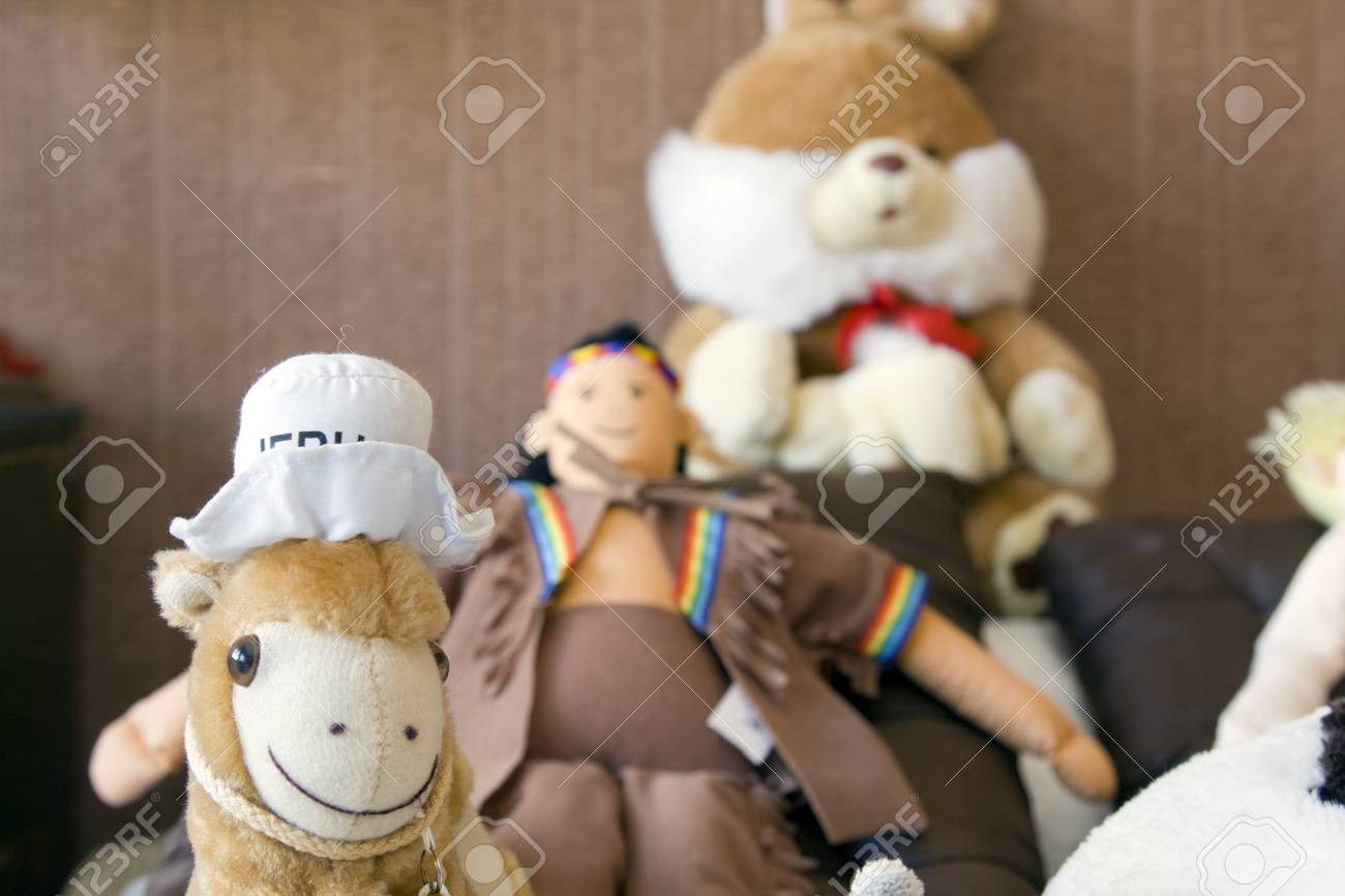 Stuffed toys on the bed Stock Photo - 7171661