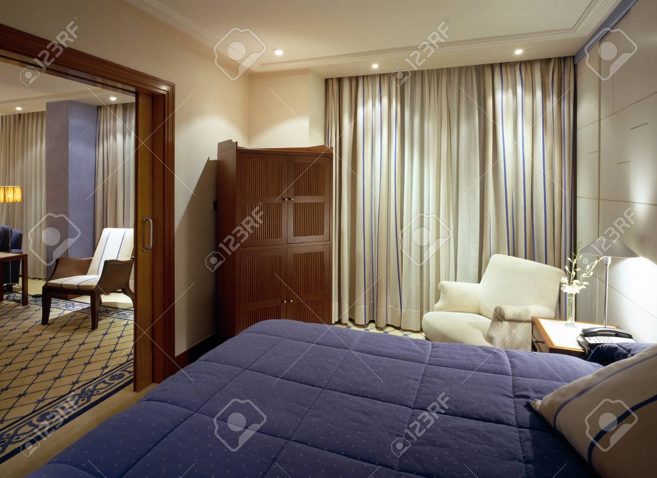 Partial view of a double bed Stock Photo - 7215064