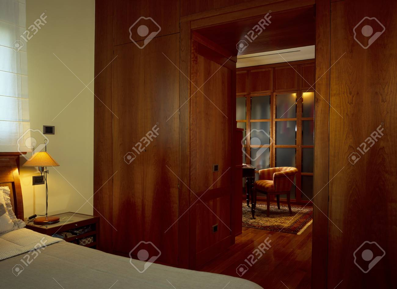 Partial view of a bed in a bedroom Stock Photo - 7215094