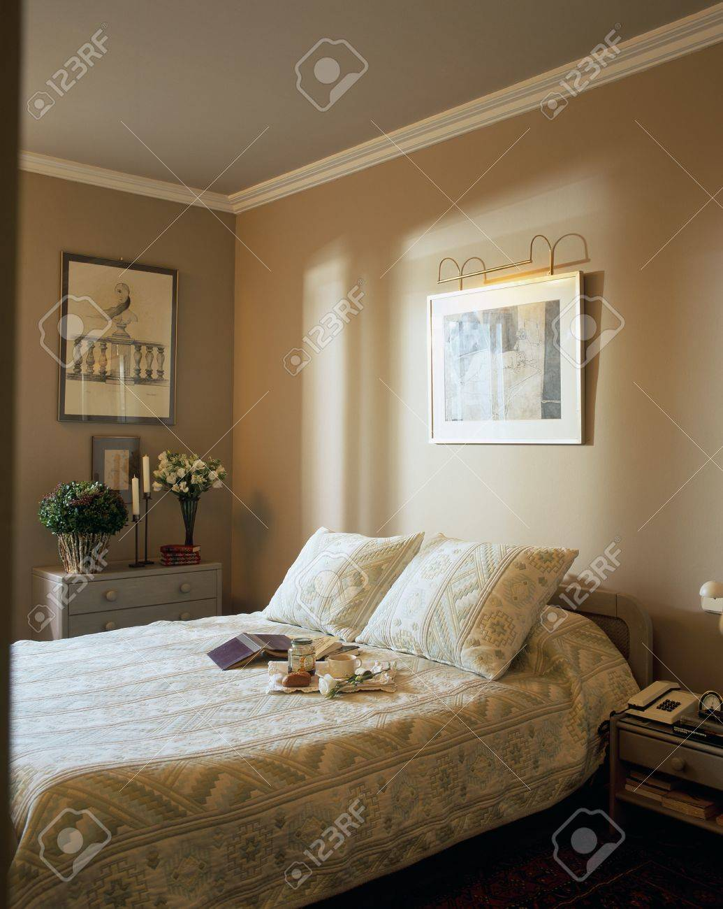 stock photo view of a cozy bedroom