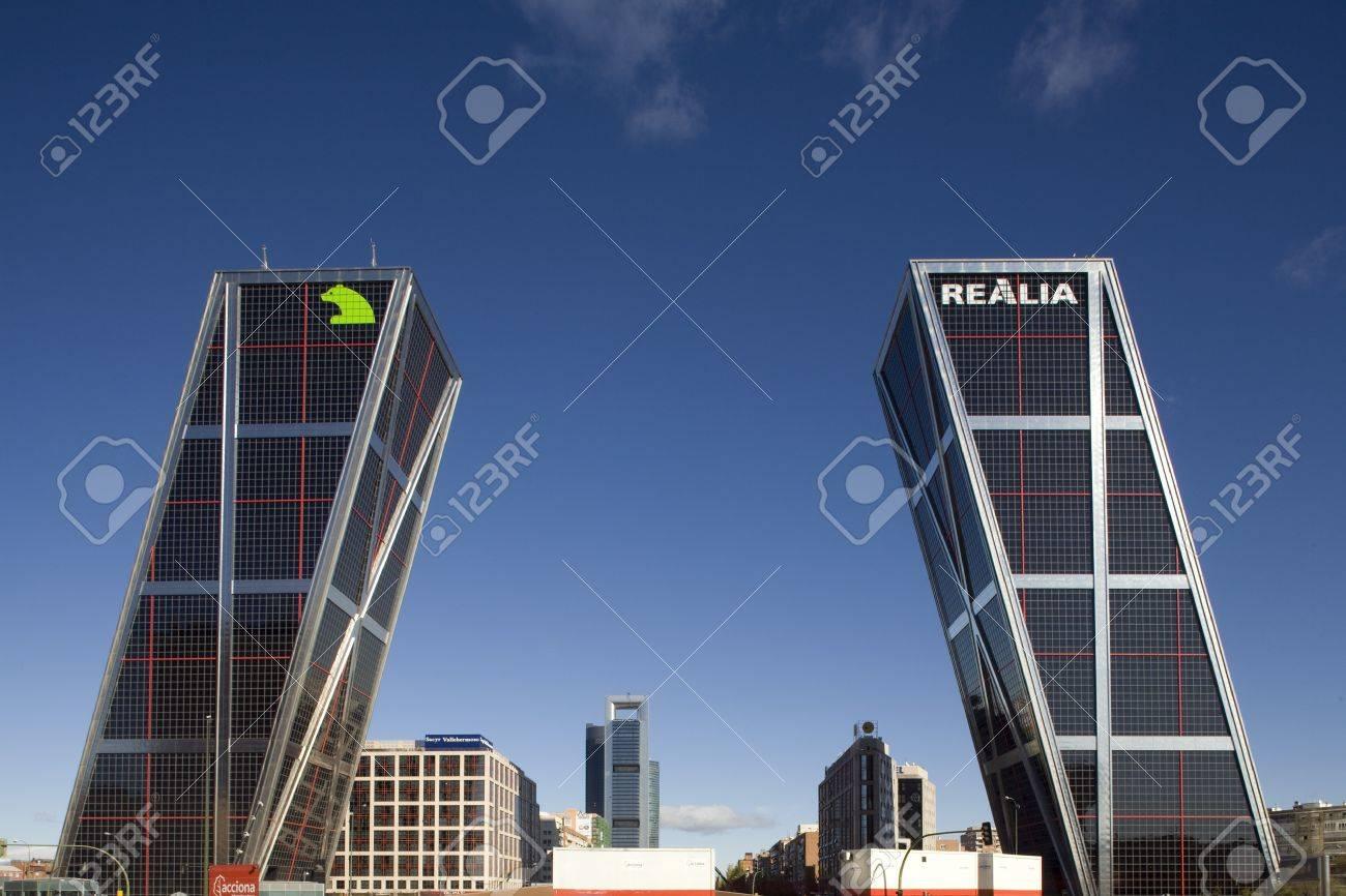 madrid tower low angle view of commercial buildings puerta de europa plaza de