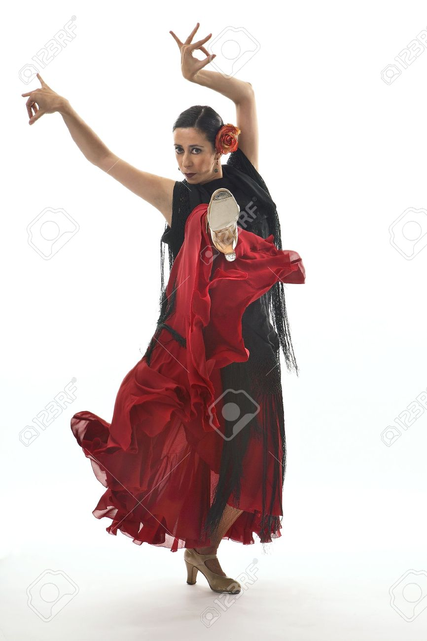 Typical spanish gypsy with carnation and fan dancing Sevillanas. Stock Photo - 7475630