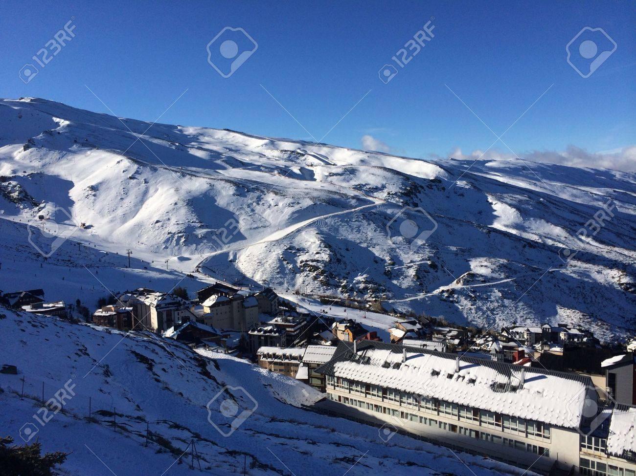 panoramic view of ski resort sierra nevada, granada, a sunny.. stock