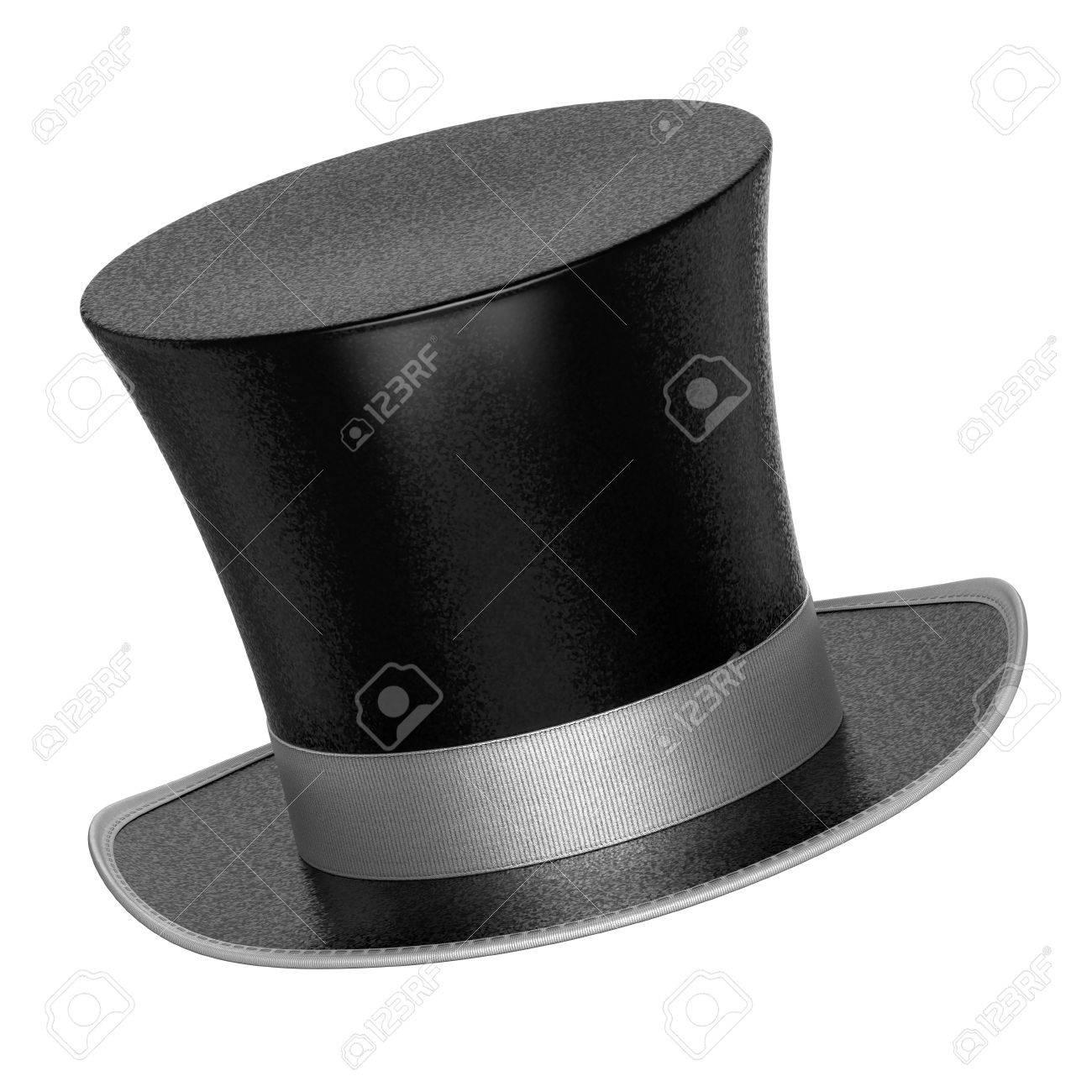 3D prestados decoración negros sombreros de copa con superficie escamas  metálicas estilo brillante - aislado en e4c27875b389